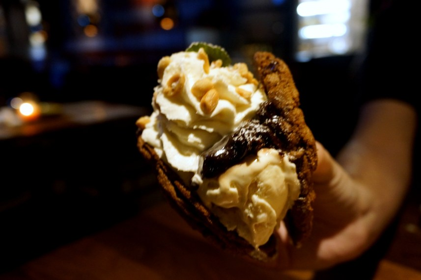 Warm Chocolate Chip Cookies, Vanilla Bean Ice Cream, Hot Fudge, Whipped Cream & Roasted Peanuts