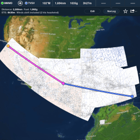 Caribbean and Mexico Low Enroute Charts with flight plan and navlog shown