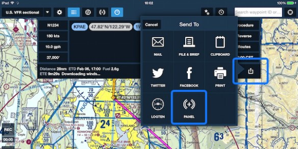Send to the panel-mount avionics from the route editor