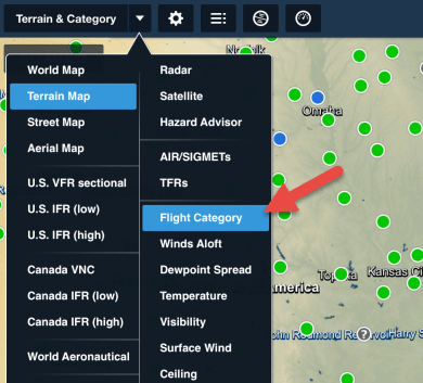Flight Category selected in the Map overlay selector