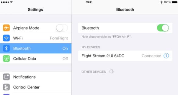 Pair with ForeFlight with Flight Stream via Bluetooth