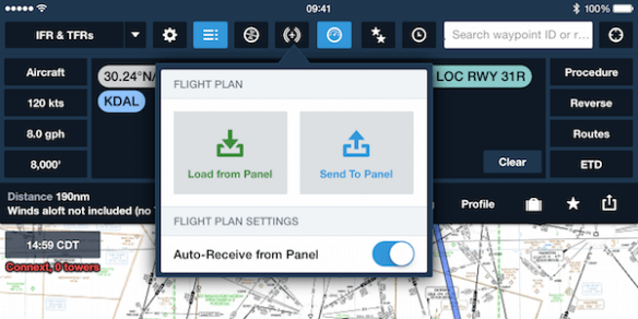 Send route to the Garmin panel