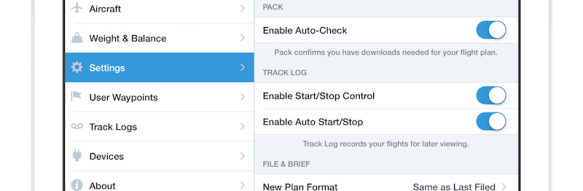 Track Log record settings