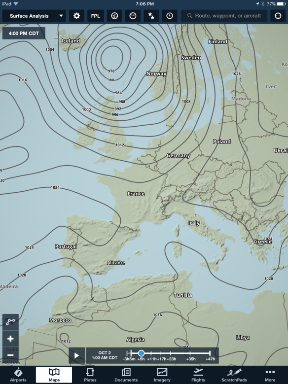 The surface analysis layer provides global isobar and pressure readings