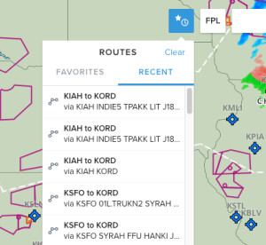The web application now has Favorite/Recent Route button with Edit/Clear functions.