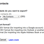 Select all contacts, and save it in Google Address Book format