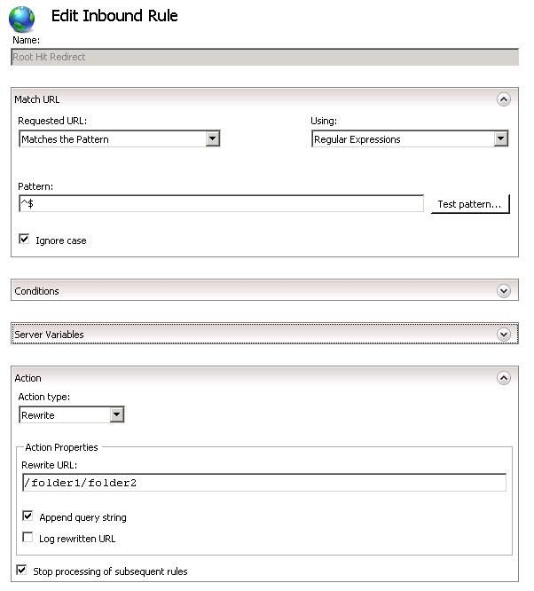 IIS 7 URL Rewrite (HTTP Redirect) to root site | Sc@-tt3r-ed