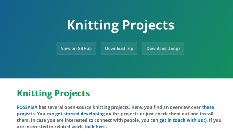 New Landing Page for FOSSASIA Knitting Projects