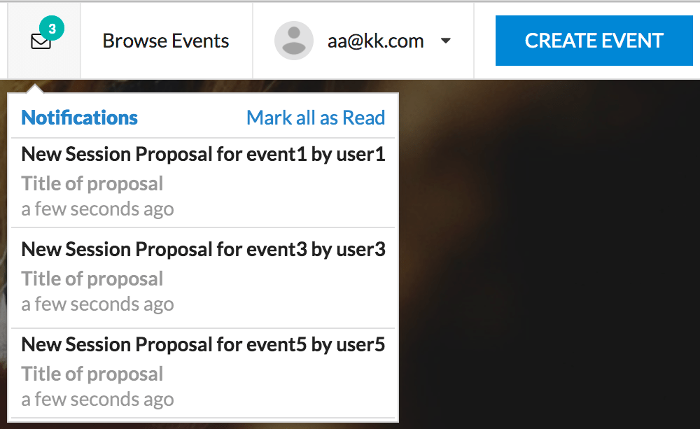 Creating a notification dropdown in semantic UI for Open Event Frontend