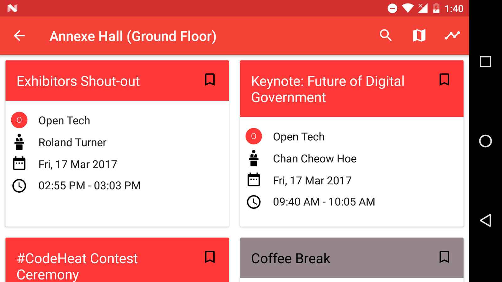 Displaying Upcoming Sessions at a Microlocation Open Event Android