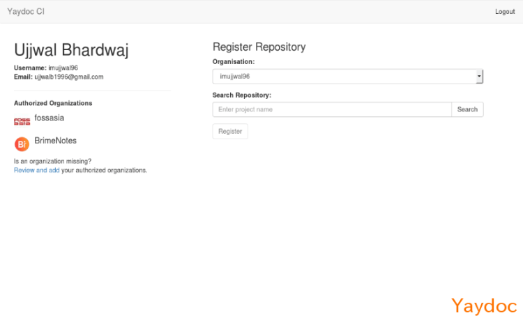 Dashboard for Managing Registered Repositories in Yaydoc