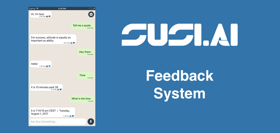 How to Implement Feedback System in SUSI iOS