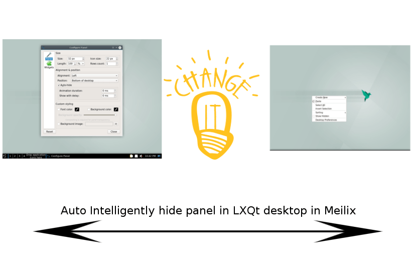 Configuration for Auto-hiding Panel in Meilix with LXQt desktop