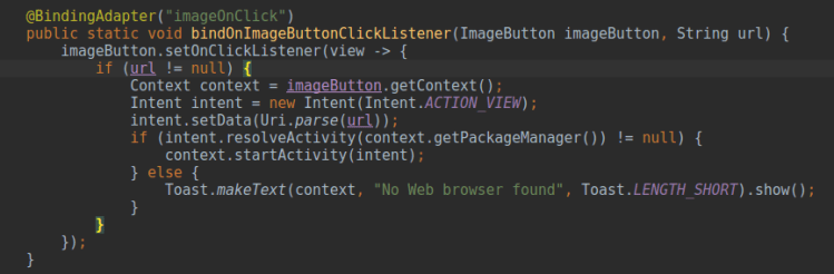 Handling Click Events using Custom Binding Adapters