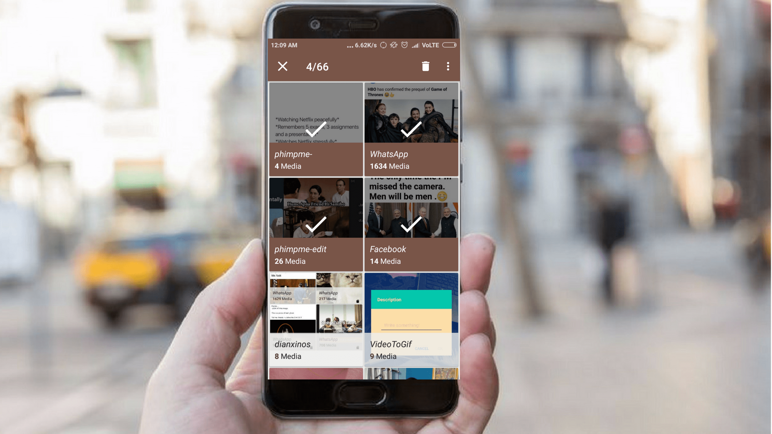 Option to delete albums from storage in Phimpme Android Application