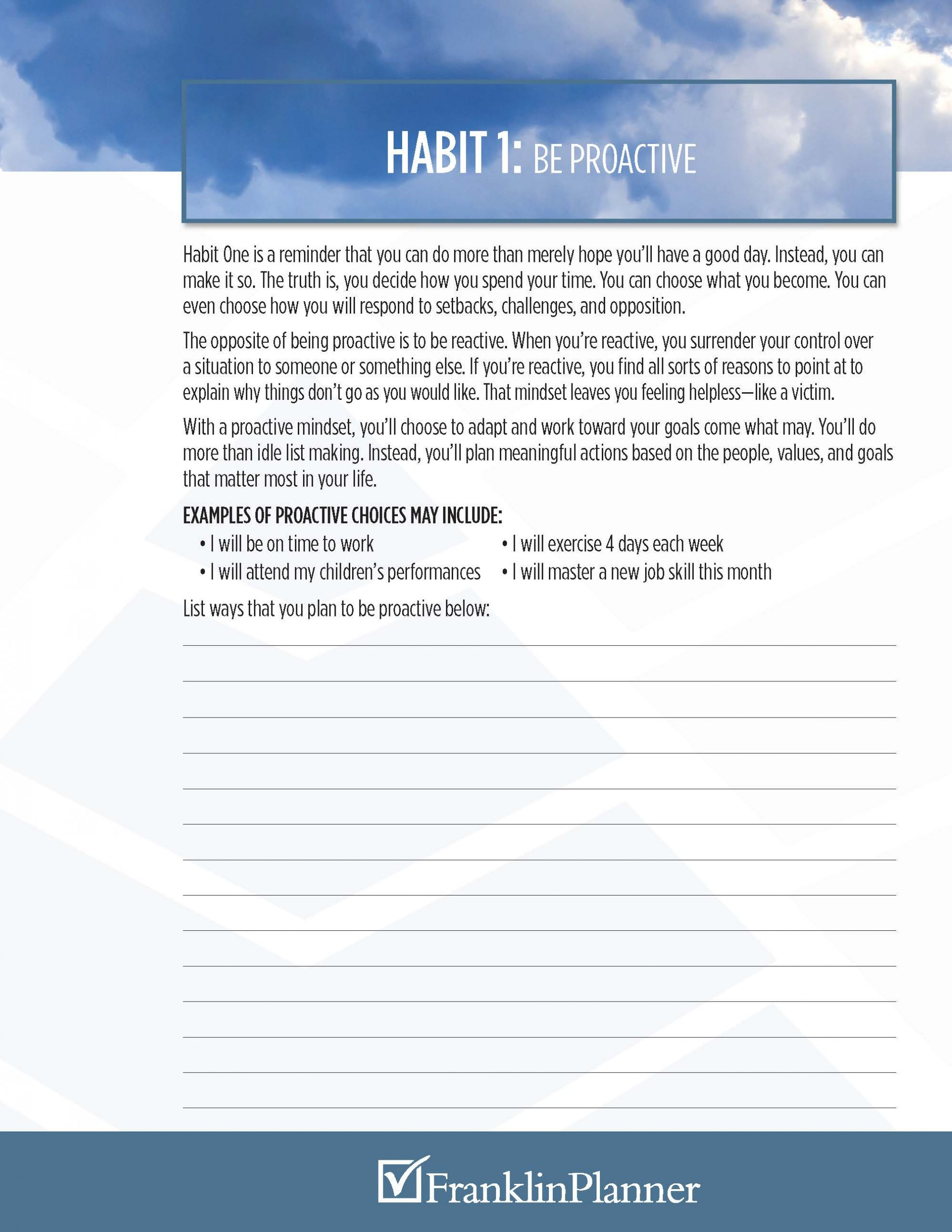 Developing Habit 1 Be Proactive Franklinplanner Talk