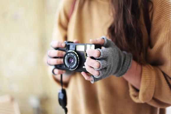 Fingerless gloves, camera