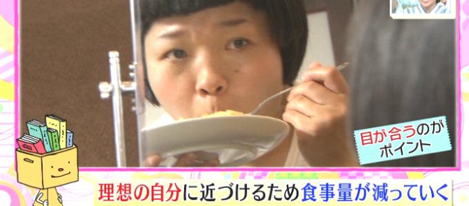 鏡を見て食べる