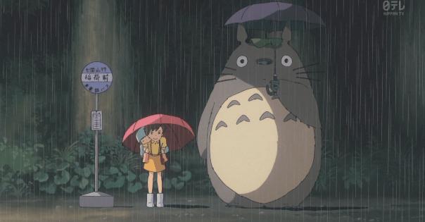 トトロとメイとサツキが雨宿り