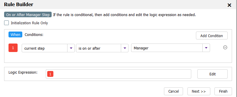 Condition wizard for the Show/Hide the Manager Approval Step rule. Screen shows current step is on or after Manager step.