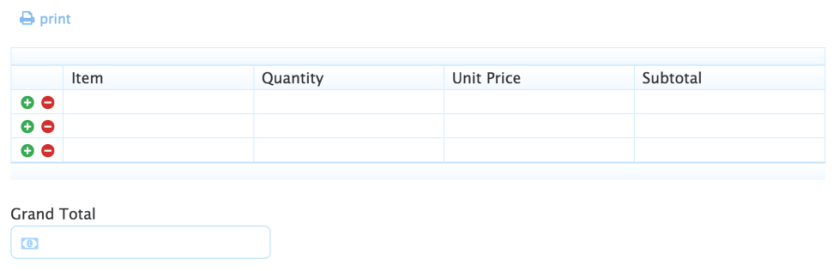 frevvo screen with a table that has Item, Quantity, Unit Price and Subtotal columns. Grand Total field below the table.