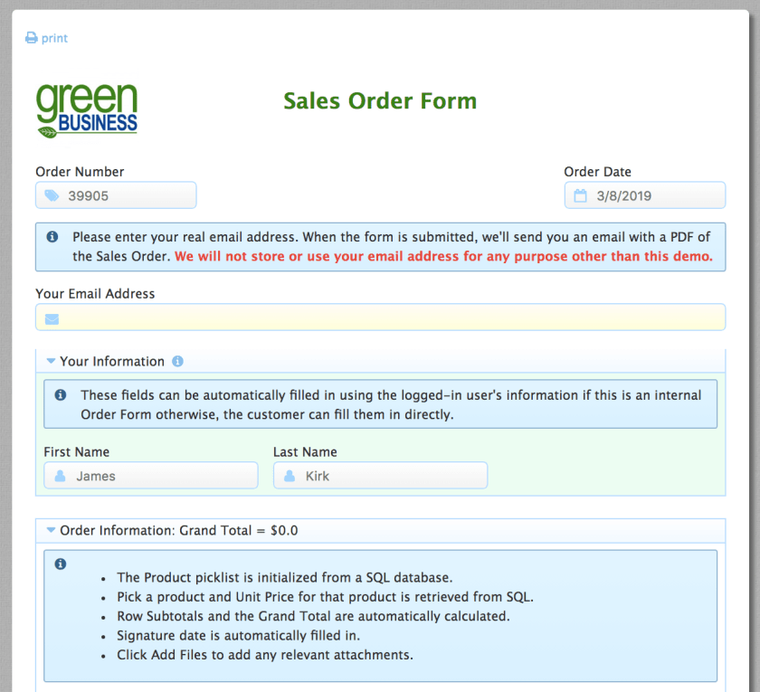 Sales order form sample with reassurance copy.