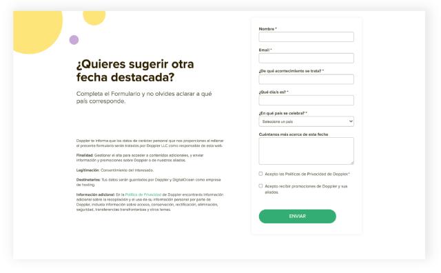 marketing calendar suggestion form