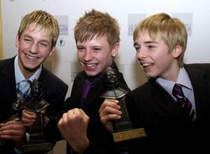 Liam Mower (right) collected the Olivier Award shared between the three actors - a first at the time