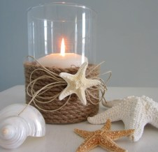 Candle holder with nautical rope and starfish