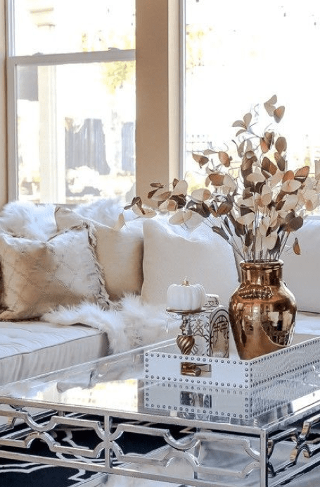 Rose Gold and Gold Living Room Accents - Lazy Loft