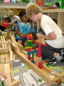 Project time gives kids time to work together, building with blocks.