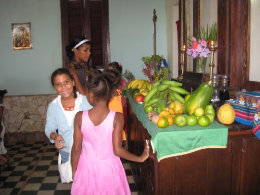 fruit on altar in Cuban
