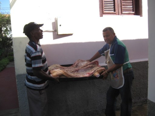 preparing a pig for roasting