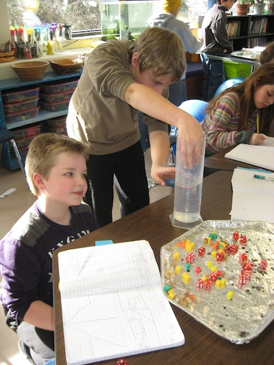 Students worked in pairs exploring volume.