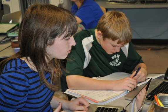 Seventh and eighth graders work on their History Day research and projects.