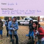 6th graders plant trees at Horton Park across from Friends School of Minnesota
