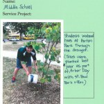 Middle school students spent the fall watering trees that volunteers planted last Arbor Day