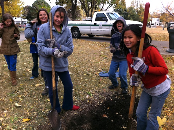 Planting trees across the street in Horton Park