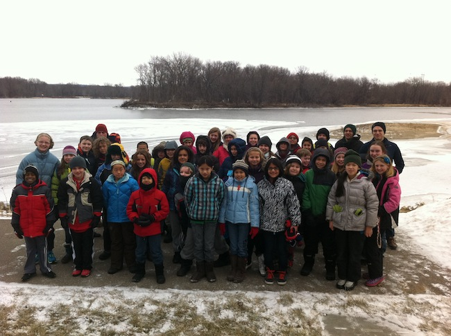 Friends School of Minnesota 5th and 6th graders travel downstream to learn about the Mississippi River near Red Wing, Minnesota.