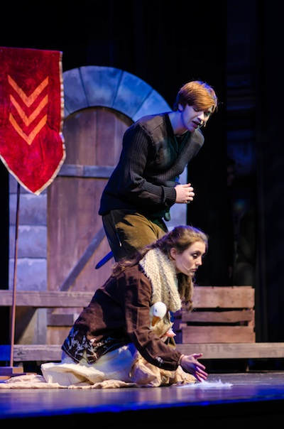 Friends School of Minnesota alumnus Evan Leduc (back) in St. Paul Academy's production of <i>Caucasian Chalk Circle.</i>