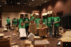 Cardboard robots and forts.