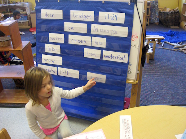 Kindergarteners compiled words from their experience.