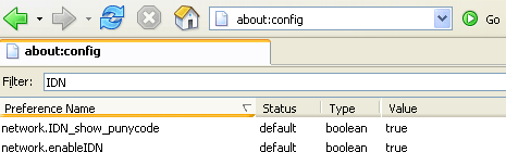 The about:config options
