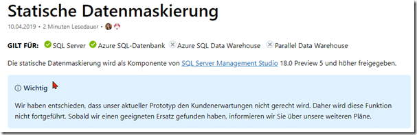 SQL Server 2019 – static data masking – Du Opfer!