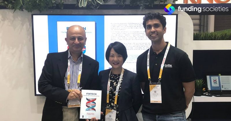 """Pramodh Rai at the launch of """"FinTech: The New DNA of Financial Services"""" alongside co-authors, Pranay Gupta and Dr. Mandy Tham"""