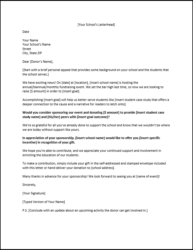 Example Of A Sponsorship Letter For Schools Ptas And Students