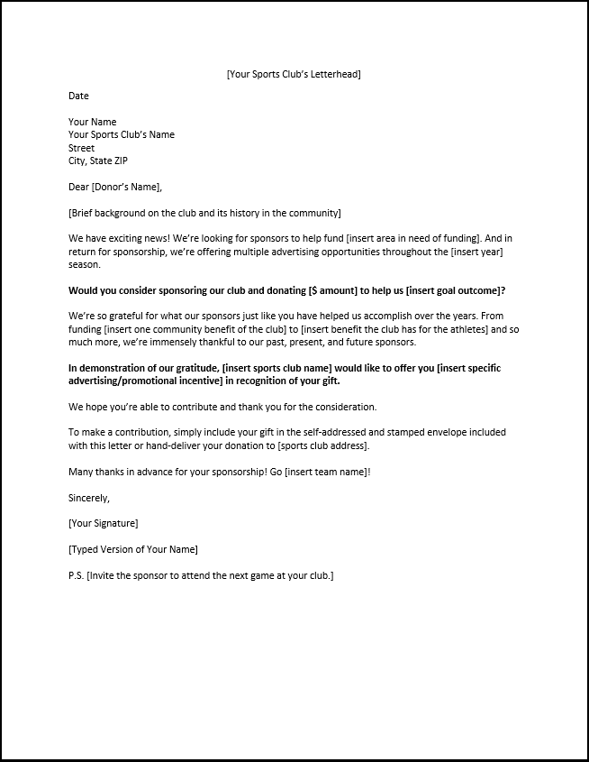 Example Of A Sponsorship Letter For Sports Clubs