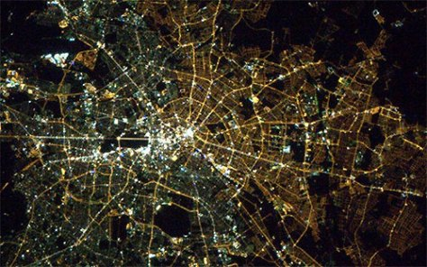 East West Germany divide from space
