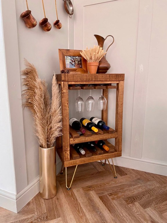 Solid Wood Wine Rack with hairpin legs.
