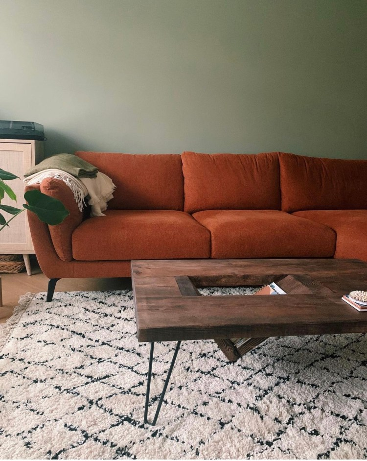 Ouseburn Coffee Table with Hairpin Legs in Mid Century Modern Living Room